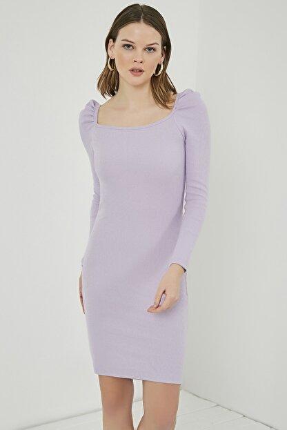 Sateen Kadın Lila Büzgülü Uzun Kol Kare Yaka Elbise  STN769KEL101