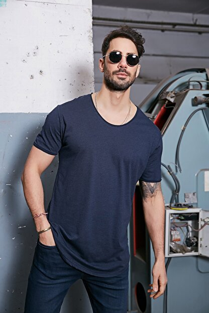 Sateen Men Erkek Lacivert Kısa Kol Long Kesim Basic T-Shirt