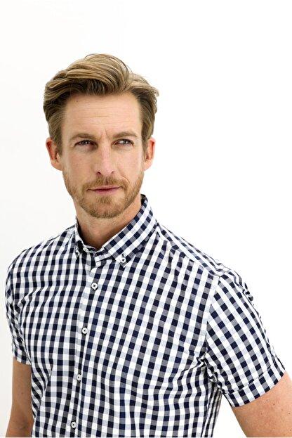 Kiğılı Kısa Kol Slim Fit Ekose Gömlek