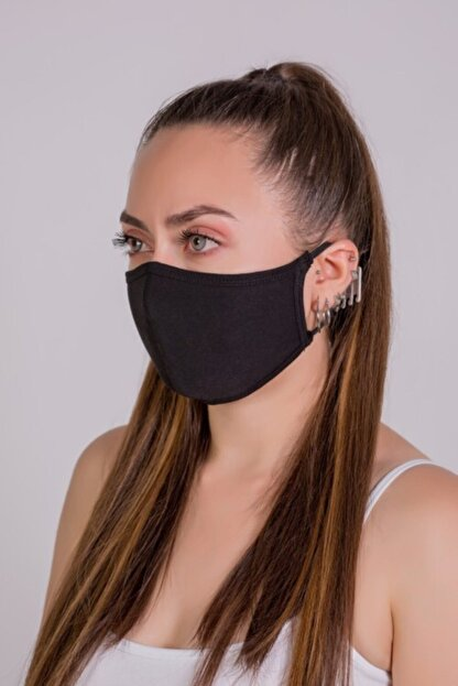 AYD UNDERWEAR Unisex Siyah 4'Lü  Pamuklu Çift Katlı Yıkanabilir Maske