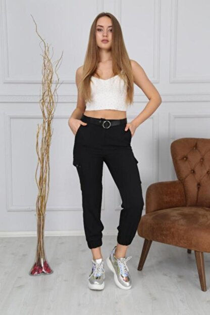 Bluence Kadın Siyah Cepli Kargo Pantolon