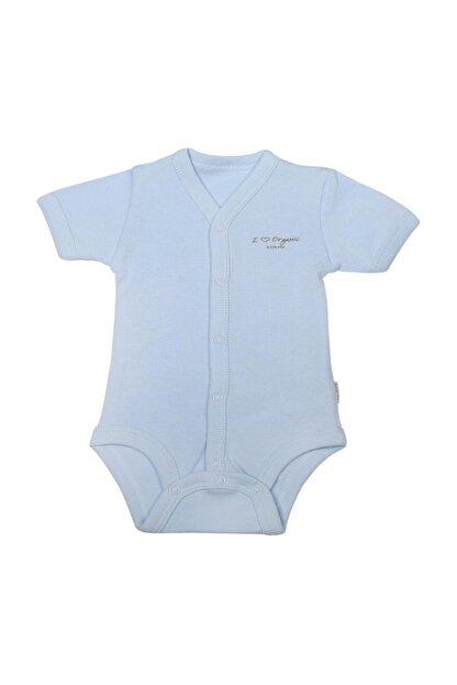 KitiKate Bebek Mavi Organik Basic Kısa Kol  Body S78760