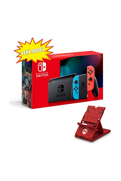 Nintendo Switch Neon Red Blue Yeni Model + HORI Compact PlayStand Mario Edition Hediye