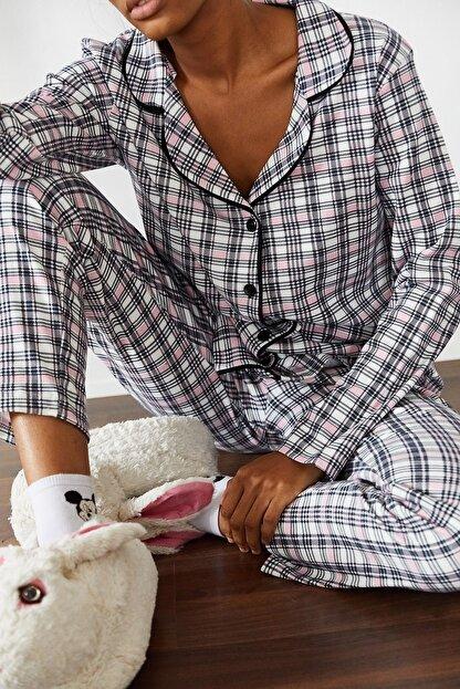 Xena Kadın Beyaz Kareli Örme Pijama Takımı 1KZK8-10834-01