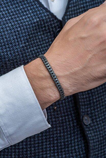Gümüş Tezgahi Sıralı Hematit Taşı Makrome El Örgüsü Erkek Bileklik