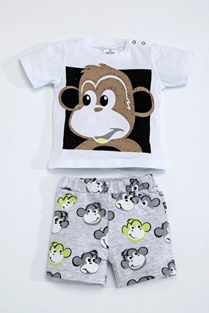Luggi Baby Erkek Kız Bebek Maymunlu Beyaz Gri Şort Takım 5097