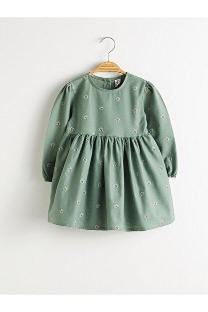 LC Waikiki Kız Bebek Yeşil Baskılı Lrr Elbise