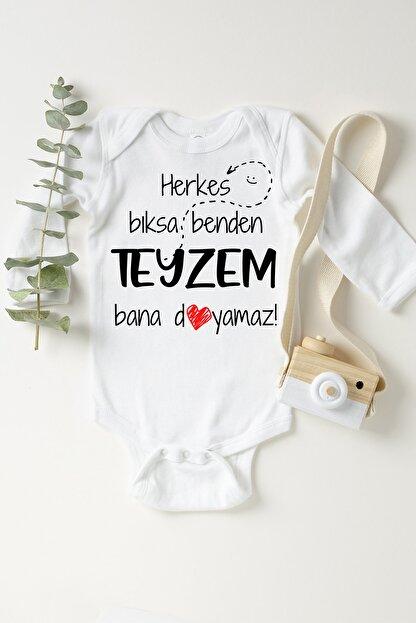 Happy Onesie Co Unisex Bebek Beyaz Teyzem Bana Doyamaz Çıtçıtlı Body