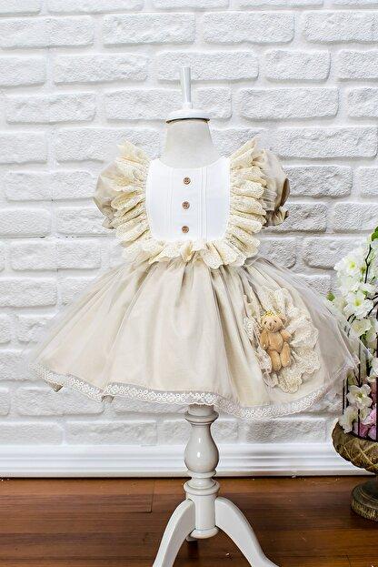 JBK JUST BABY AND KIDS STORE Kız Bebek Bej Dantelli Ayıcıklı Kabarık Etek Elbise