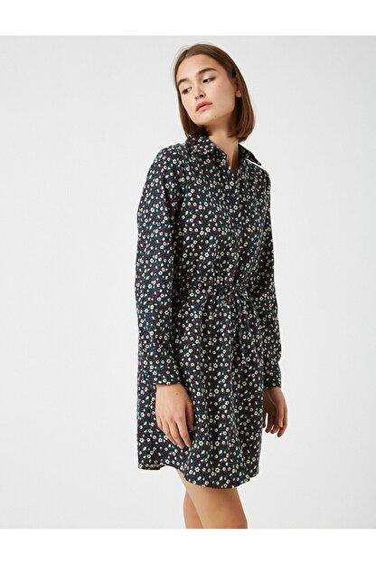 Koton Kadın Lacivert Pamuk Çiçekli Kisa Elbise