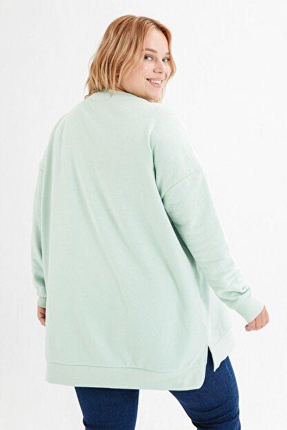 LC Waikiki Kadın Açık Yeşil Büyük Beden T-Shirt