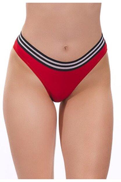 Nipora Kadın Kırmızı Pamuklu Basic Spor Bikini Tip Külot 0338