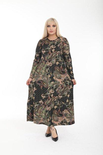 Şirin Butik Kadın Haki Büyük Beden Yaka Pervazlı Elbise
