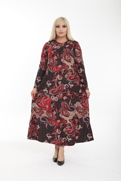 Şirin Butik Kadın Kırmızı Büyük Beden Yaka Pervazlı Elbise