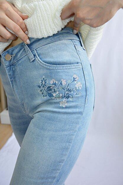 Denim FORM Kadın Mavi Çiçek Desenli Jeans Frm3481tn