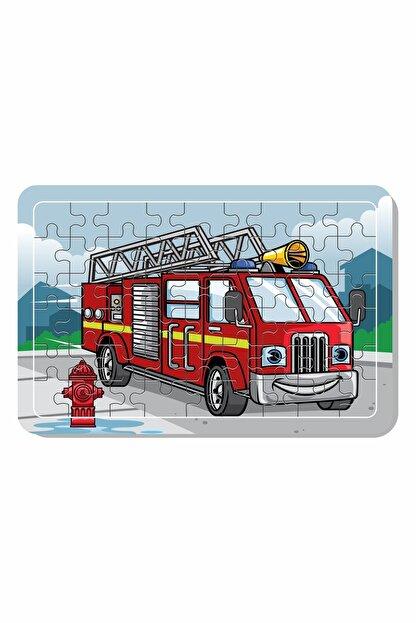 Baskı Atölyesi Itfaiye Aracı A4 54 Parça Ahşap Puzzle