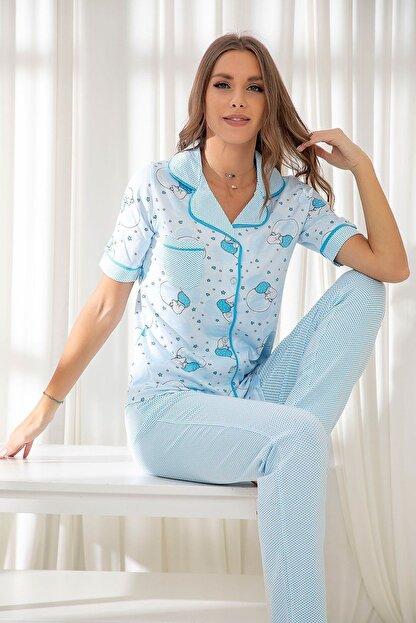 Siyah İnci Mavi Hamile Pamuklu Düğmeli Biyeli Pijama Takım