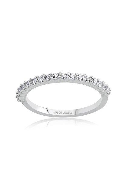 Valori Jewels Yarımtur Zirkon Beyaz Taşlı, Gümüş Yüzük