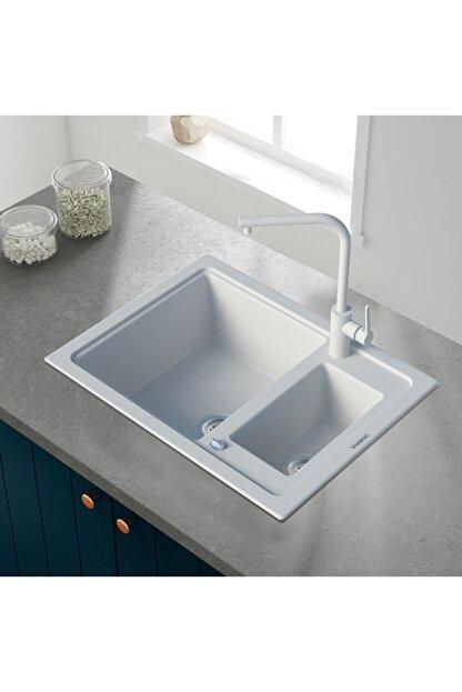 Vıvıano     1,5 Göz Beyaz 50x60 Cm Granit Evye Sifon