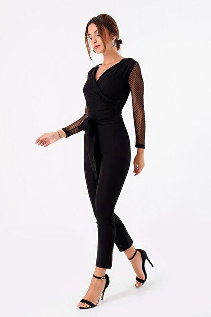Modakapimda Kadın Siyah Kolları Tül Tasarım Tulum 1453MKSP