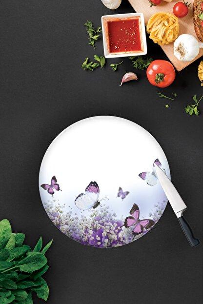 Decorita Mor Çiçek ve Kelebekler | Cam Kesme Tahtası - Cam Kesme Tablası | Çap32 cm