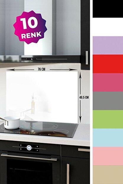 Decorita Düz Renk - Beyaz | Cam Ocak Arkası Koruyucu | 49,5cm X 76cm