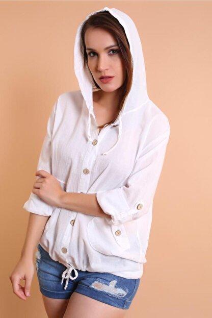 Miu Store Kadın Beyaz Kapüşonlu Gömlek