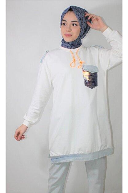 Loreen Kadın Beyaz Pul Cep Detay Soul Sweatshirt