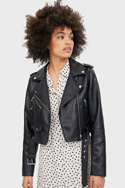 Stradivarius Kadın Siyah Kemerli Suni Deri Basic Ceket