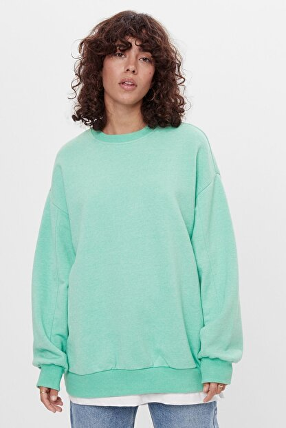 Bershka Kadın Yeşil Oversize Sweatshirt