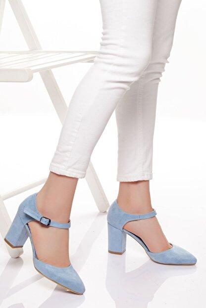 derithy Kadın Mavi Süet Klasik Topuklu Ayakkabı