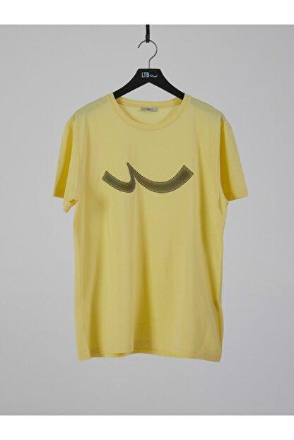 Ltb Erkek  Sarı  Baskılı  Kısa Kol Bisiklet Yaka T-Shirt 012208415960890000