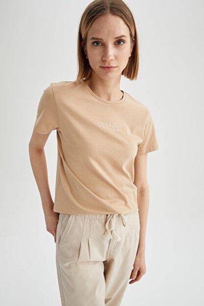 Defacto Kadın Bej Slogan Baskılı Relax Fit Kısa Kollu Tişört