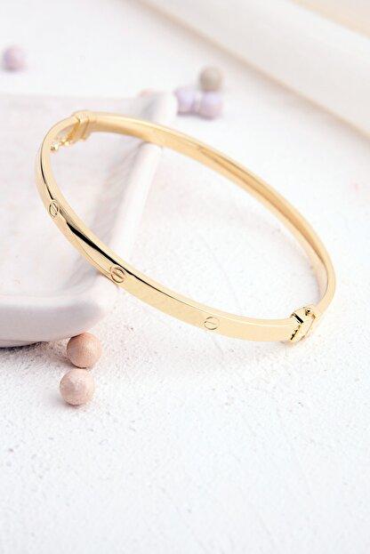 Rachel Silver Cartıer Elişi Üretim Vidalı Model Gold Renk Kelepçe Gümüş Bilezik