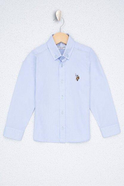 US Polo Assn Mavi Erkek Çocuk Dokuma Gömlek
