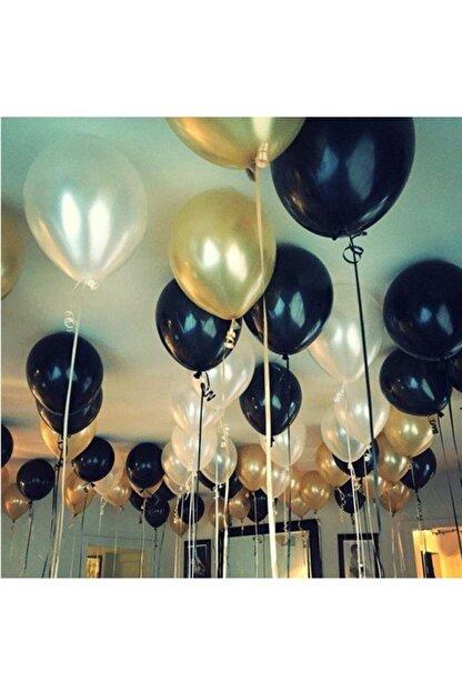 Parti Dolabı 30 Adet Metalik Sedefli (Gold-Beyaz-Siyah) Karışık Balon Helyumla Uçan