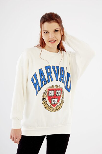 citycenterfashion Kadın Ekru Harvard Sweatshirt Cty-abr-7299