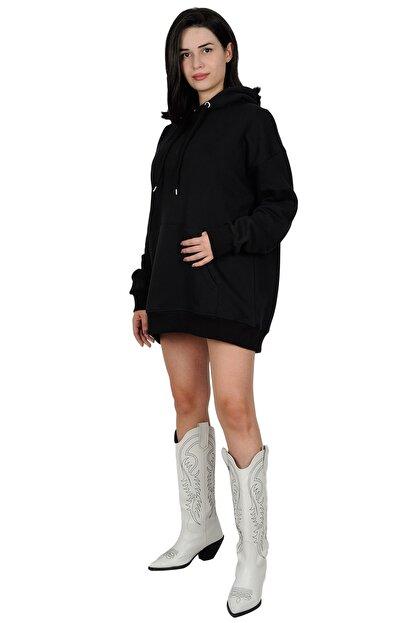 Betta Moda Kadın Siyah Oversize Kapüşonlu Sweatshirt