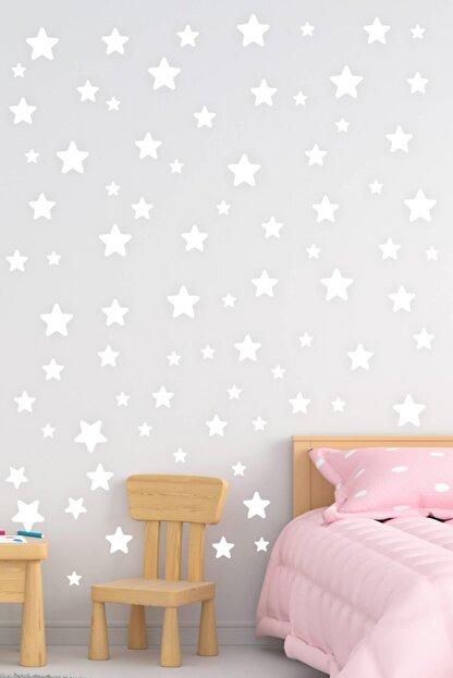 MSticker Yıldız Duvar Sticker Beyaz 130 Adet 3-4-5 cm