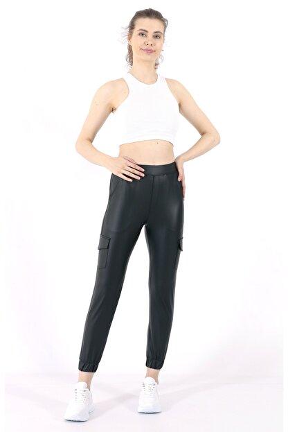 TREND34 Kadın Siyah Deri Görünümlü Cepli Pantolon