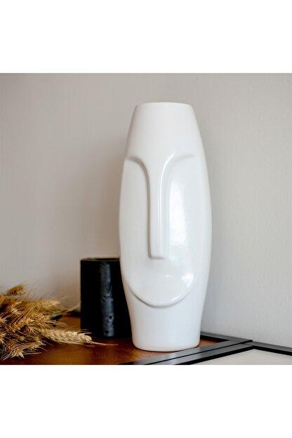Beige & Stone Nordic Face Vazo Dekoratif Obje