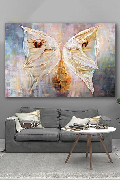 Hediyeler Kapında 70x100 Kelebek ve Sanat Kanvas Tablo