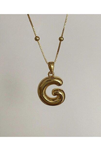 Vi store 925 Ayar Gümüş G Harfli Dolgu Kolye