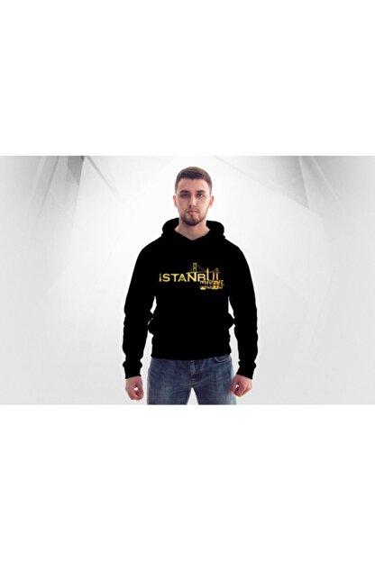 Lifestyle Unisex Siyah Istanbul Mafıa Kapşonlu  Hoodie Polar Sweatshirt
