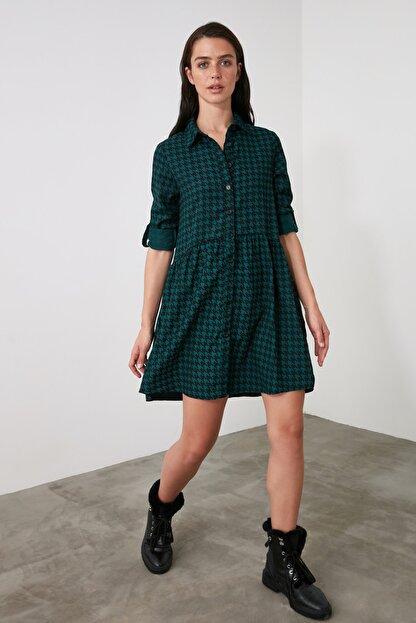TRENDYOLMİLLA Petrol Gömlek Elbise TWOAW21EL2090