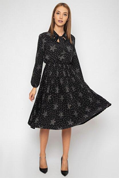 1DEN2YE Kadın Siyah Yakası Bağcılı Elbise