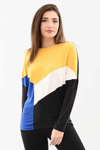 DressFine Bisiklet Yaka Renk Bloklu Uzun Kol Bluz Sarı-beyaz-saks-siyah