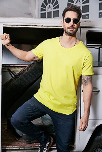 Sateen Men Erkek Sarı Kısa Kol Long Kesim Basic T-Shirt