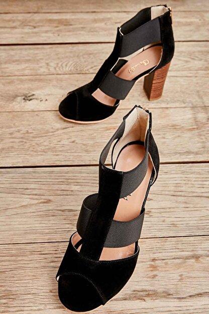 Bambi Siyah Süet Kadın Klasik Topuklu Ayakkabı K01525012272