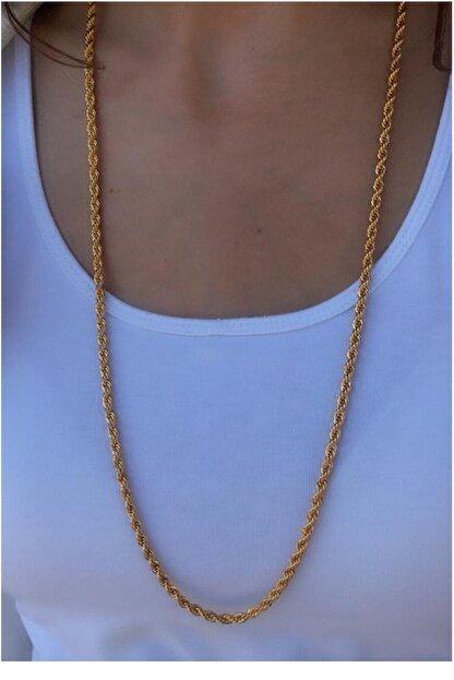 Serpil Jewellery Kadın Altın Sarısı Kalın  Uzun Çelik Burgu Zincir